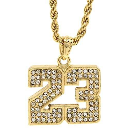 5a953c72ba3 Mens 14k Gold Plated Iced Out #23 Basketball Pendant 24