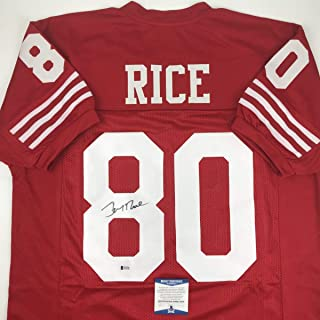 65aa6afa6 Autographed Signed Jerry Rice San Francisco Red Football Jersey Beckett BAS  COA