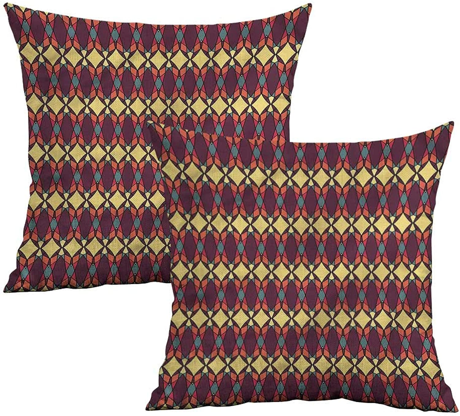 Khaki home African Square Pillowcase Covers with Zipper Abstract Ethnic Figures Square Kids Pillowcase Cushion Cases Pillowcases for Sofa Bedroom Car W 20  x L 20  2 pcs