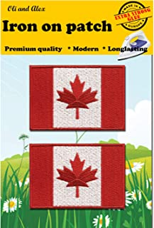 A-14, 2 Pieces Patches Iron on Canada Flag Embroidered Patch Iron on Canadian Maple Leaf Sew On National Emblem Approx. 2.9 x 1.96 inches (7.6 x 5 cm) Canada Patch for Backpacks