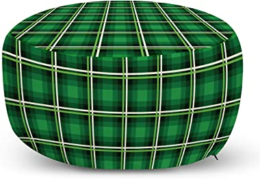 Lunarable Emerald Ottoman Pouf, Geometrical Pattern with Vivid Color Scheme Squares and Lines Tartan Style Design, Decorative Soft Foot Rest with Removable Cover Living Room and Bedroom, Green Black