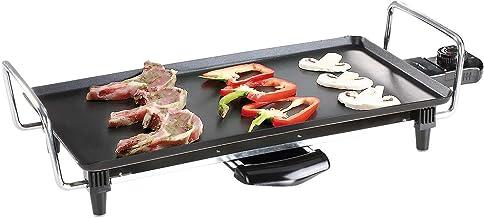 Teppanyaki Elektrische grill met sterke 2000 watt (Japanse grill, tafelgrill, vetopvangbak, grillplaat 40 x 23 cm)