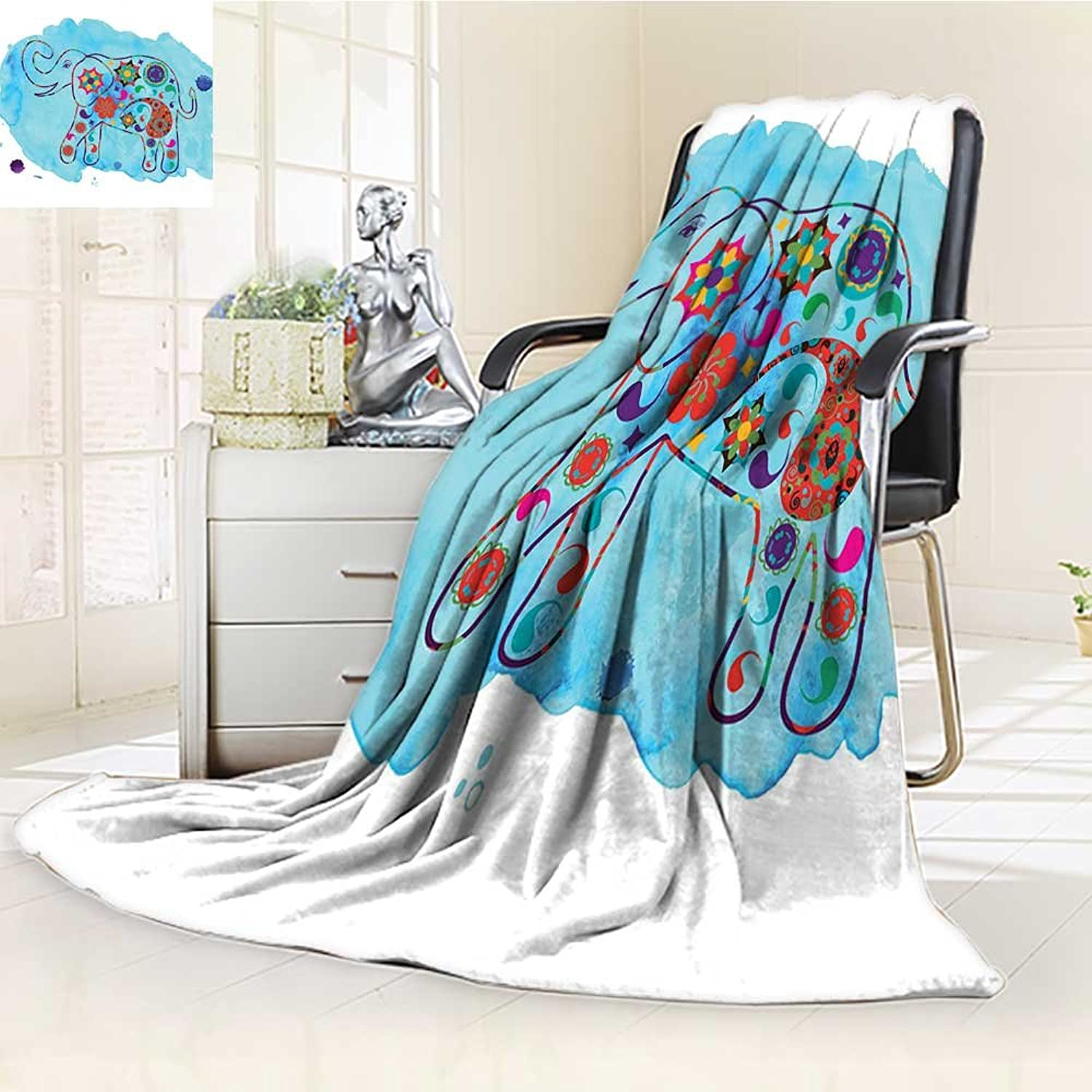 YOYI-HOME Digital Printing Duplex Printed Blanket Watercolor Nature Decorations Asian Thailand Elephant colord in Paisleys Summer Quilt Comforter  W59 x H39.5