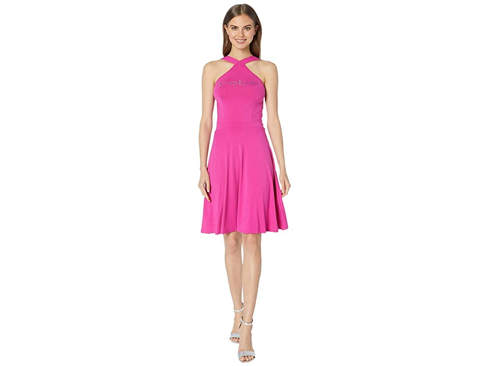 Bebe Halter Fit and Flare Dress (Very Berry) Women