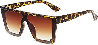 Oversized Flat Top Sunglasses for Women Mens Trendy UV 400 Protection Big Sun Glasses Shades