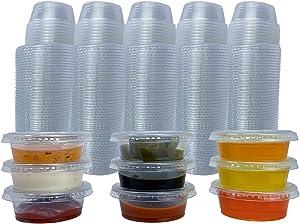 Reli. Condiment Cups with Lids, 1.5 oz (250 Sets) Jello Shot Cups / Plastic Disposable Portion Cups (1 oz - 1.5 oz Capacity) Portion / Souffle Cups 1 oz for Condiment Sauce