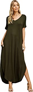 Annabelle Women's V Neck Short Sleeve Split Long Maxi Dresses with Pockets