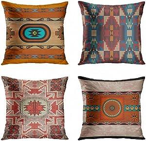 ArtSocket Set of 4 Throw Pillow Covers Southwestern Pueblo Native Mexico Arizona Vintage Hip Beige Brown Dark Decorative Pillow Cases Home Decor Square 18x18 Inches Pillowcases