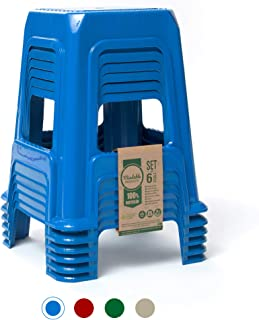 Mindable Stacking Stool 18-Inch Set of 6, 200 lbs Plastic Portable for Outdoor/Indoor Seating (6, Blue)