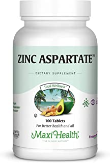 Maxi Health Zinc Aspartate - 30mg - Highly Absorbable, 100 Tablets, Kosher