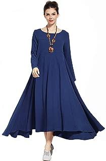 Double-Layer Expansion Linen Cotton Dress Spring Fall Winter Plus Size Dress Warm Version 2.2 lbs Y93D