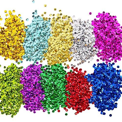 Lentejuelas Sueltas Lentejuelas de Taza a Granel Entejuelas Iridiscentes para Manualidades Artes Artesanías, 10 Colores, 6 mm, 100 Gramos