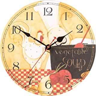 KI Store Chef Wall Clock for Kitchen Dinning Restaurant Café Decorative Wall Clock 12-inch Battery Operated Rooster and Fat Chef