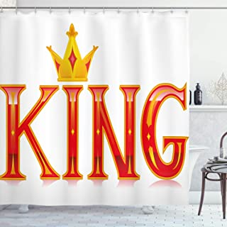 Ambesonne King Shower Curtain, Royal King Words in Capital Lettering with Crown and Diamond Shapes on White, Cloth Fabric Bathroom Decor Set with Hooks, 70