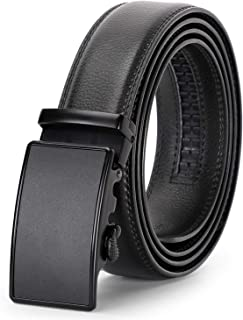 Men's Ratchet Leather Belt for Dress, Sliding Automatic Buckle Belt Fit Waist up to 44 Inch