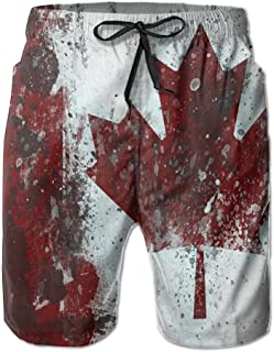 BANGBIG Men's Canada Flag Maple Leaf Quick-Drying Swim Trunks Casual Beach Shorts White