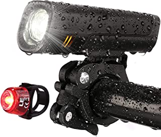 LE USB Rechargeable Bike Light Set, Super Bright Bicycle Headlight, Cycling Taillight, 300lm, 4 Lighting Modes, Front Rear...