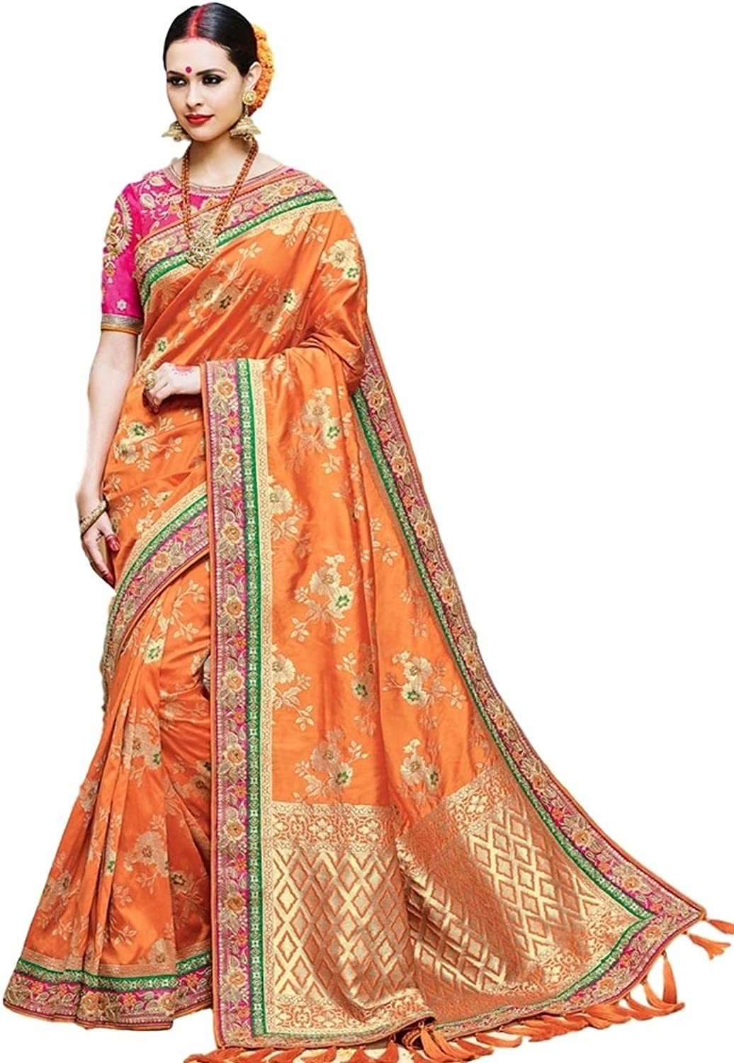 EthnicWear orange Traditional Cultural Festival Wear Indian Art Silk Zari Embroidery Patch Border Zari Work Saree Sari