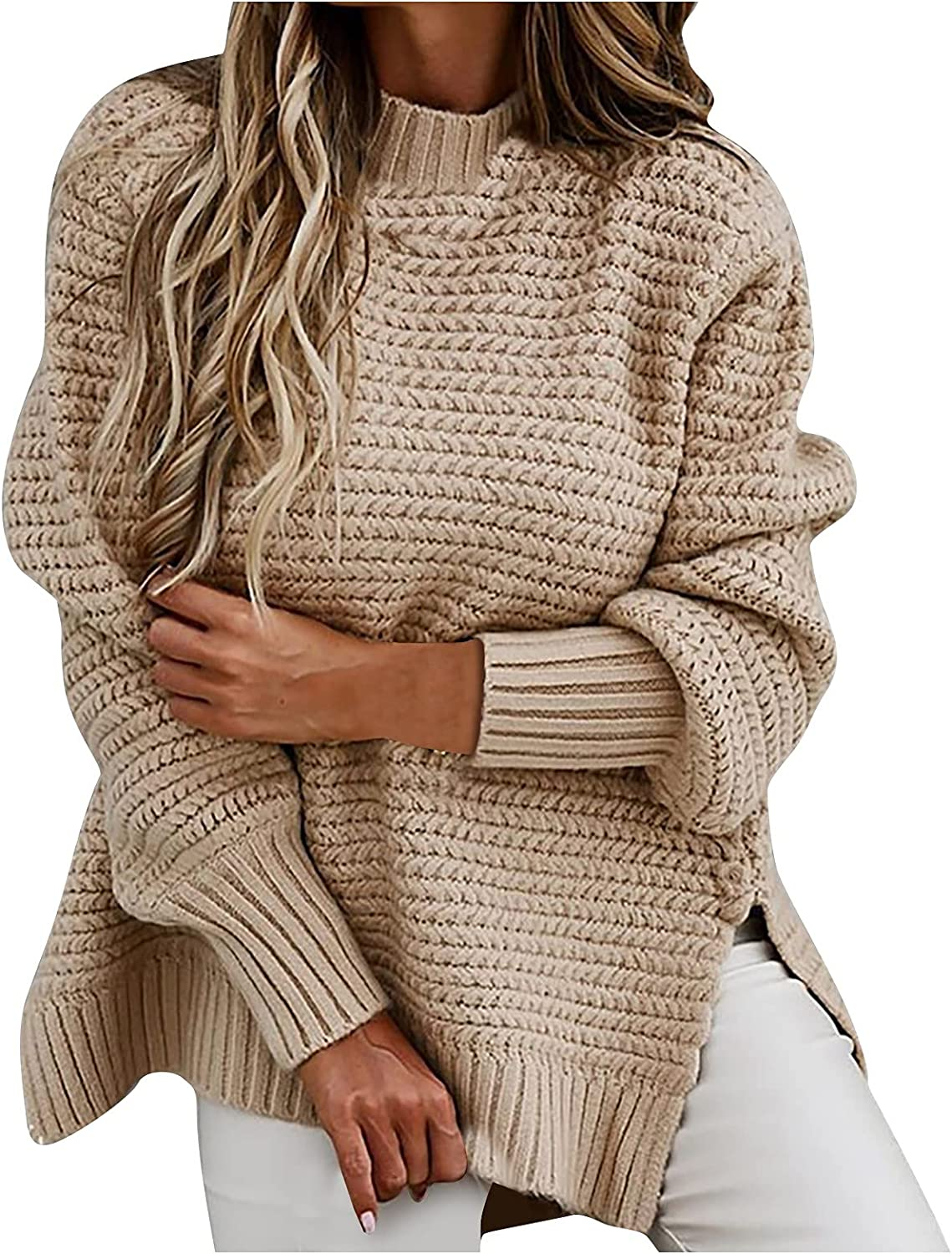 Women's Pullover Sweater Half High Neck Loose Solid Color Thick Needle Side Slit Knitted Long Sleeve Tops