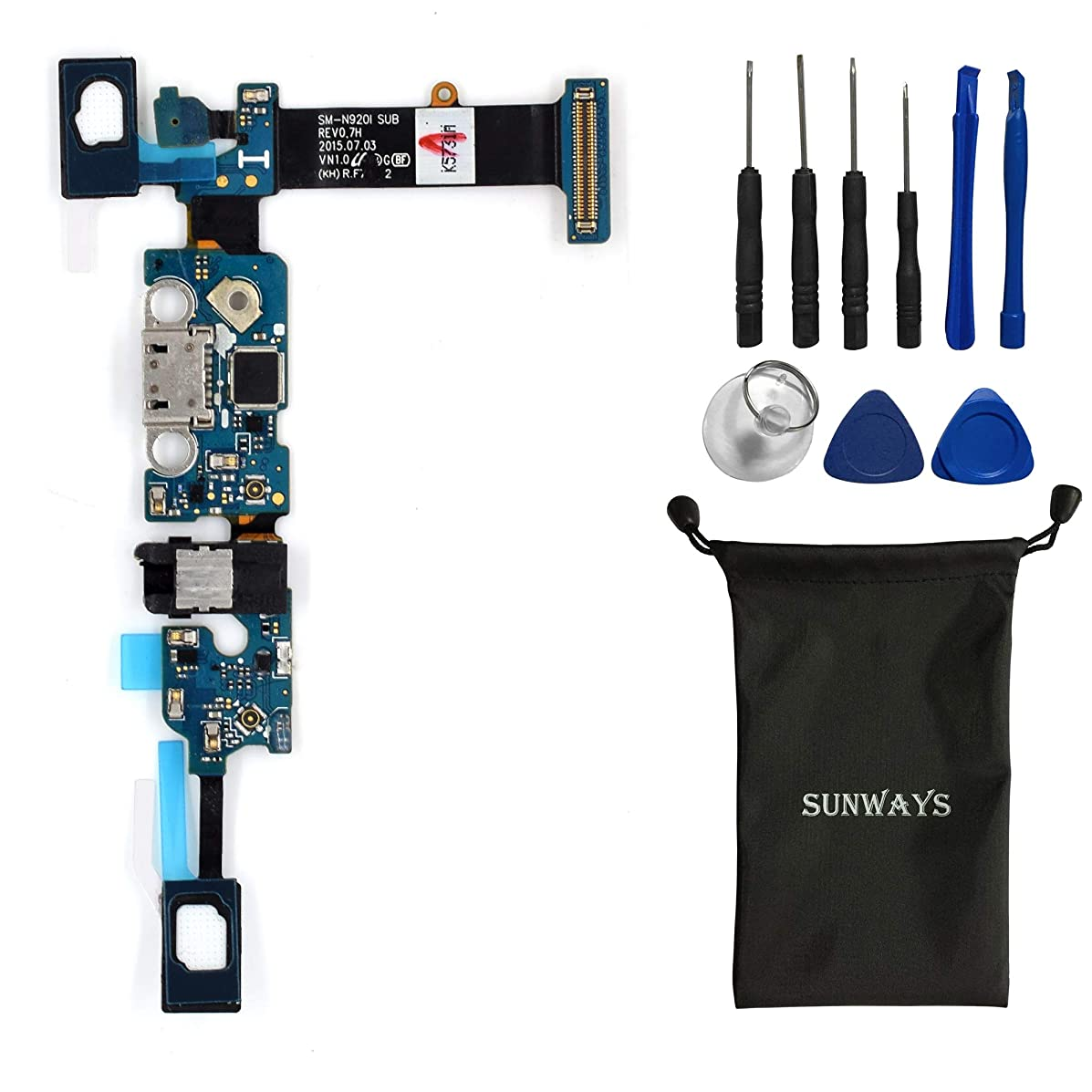 sunway Cell Phone Replacement Part for Samsung Galaxy Note5 N920I Charging Port Plug Flex Cable + Earphone Jack + Microphone + Sensor Flex Cable