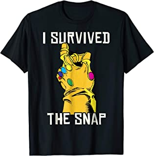 Marvel Thanos Gauntlet I Survived The Snap Graphic T-Shirt