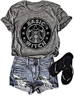 Womens Basic Witch Letters Print Short Sleeve O-Neck Casual T Shirt Tops Blouse …