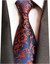 MENDENG Gold Blue Mens Floral Paisley Ties Silk Jacquard Woven Suits Tie Necktie