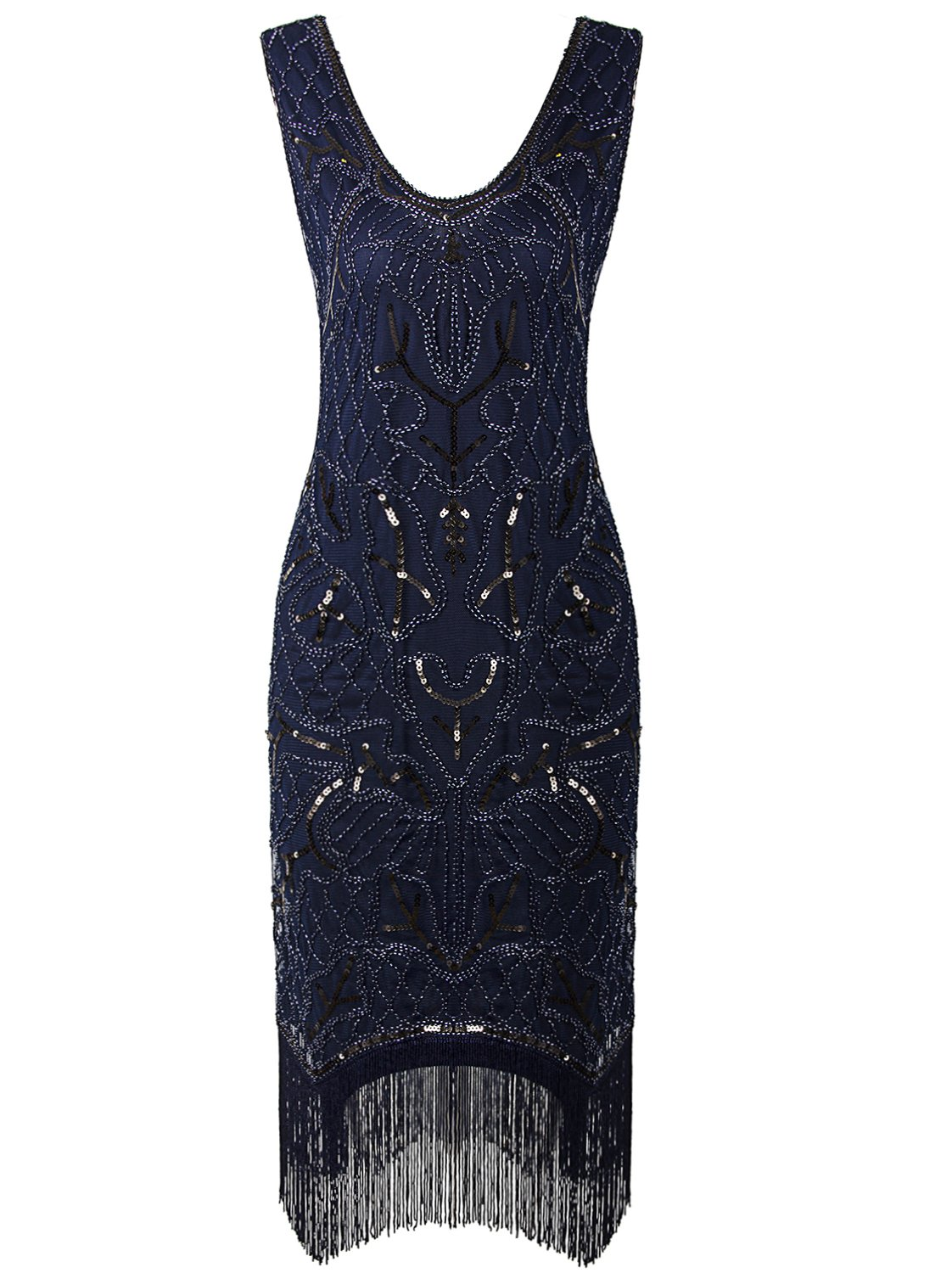 Available at Amazon: VIJIV Women's 1920s Flapper Dress Art Nouveau Great Gatsby Fringe Cocktail Dress