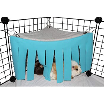 ASOCEA Small Animal Hamster Tent Hammock Pet Hideout Cage Accessories Nest Bed for Guinea Pig Chinchilla Hedgehog Rat Squirrel Ferret Dwarf Bunny (Blue)