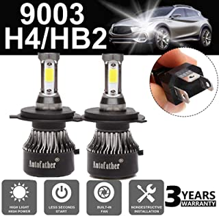 Ultra H4 LED Headlight Bulbs All-in-One Conversion Kit - 9003/HB2 Hi/Lo Beam -24000LM 6000K Super Cool White IP68 4 Sides COB Chips Automotive Headlamp 2 Pack- 3 Year Warranty