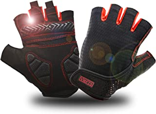 WMOSS Weightlifting Gloves Gel Pad Cycling Gloves Fingerless Gym Gloves for Mens Womens Fitness Crossfit Workout Biking Fi...