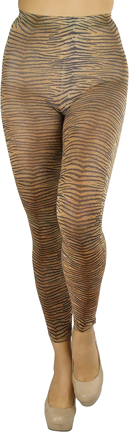 ToBeInStyle A surprise price is realized Women's Footless Opaque Tigh Popularity Zebra Animal Tiger