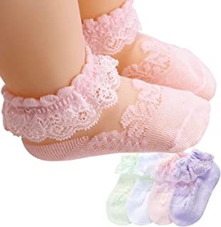 IccoJia Infant Toddler Ruffle Socks Baby Girl Eyelet Frilly Socks Little Girl Princess Lace Ruffle Socks 4 Pairs