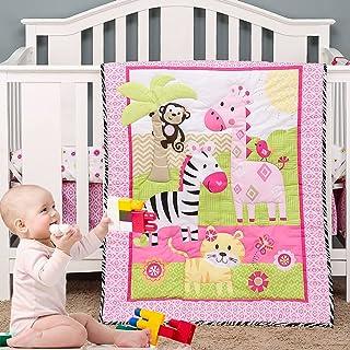 Brandream Pink Jungle Crib Bedding Set | 3-Piece Giraffe,Tiger, Monkey, Zebra Nursery Set - Animal Zoo Theme | Baby Quilt,...