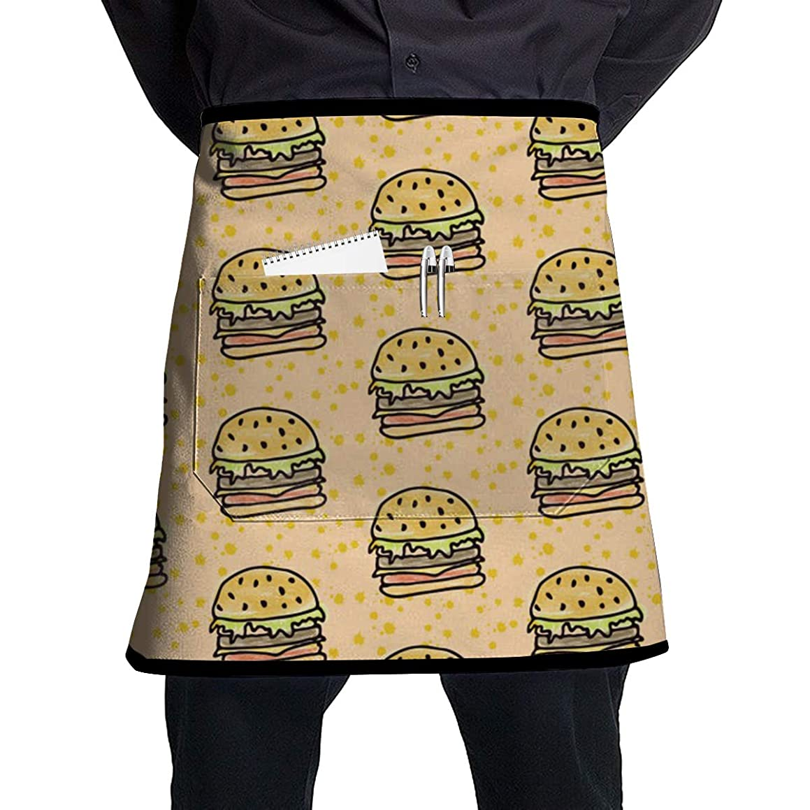 ALLMYHOMEDECOR Hamburger Food Pattern Waist Aprons Bib Unisex Adjustable Polyester Cooking Gardening BBQ Kitchen Chef Apron for Outdoor Serving Grill Restaurant Cleaning Baking Crafting