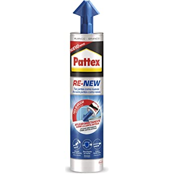 Pattex RE-NEW en cartucho, silicona blanca para sanitarios, blanqueador de juntas para baños, sellador universal impermeable con triple resistencia al moho, 1 x 280 ml: Amazon.es: Bricolaje y herramientas
