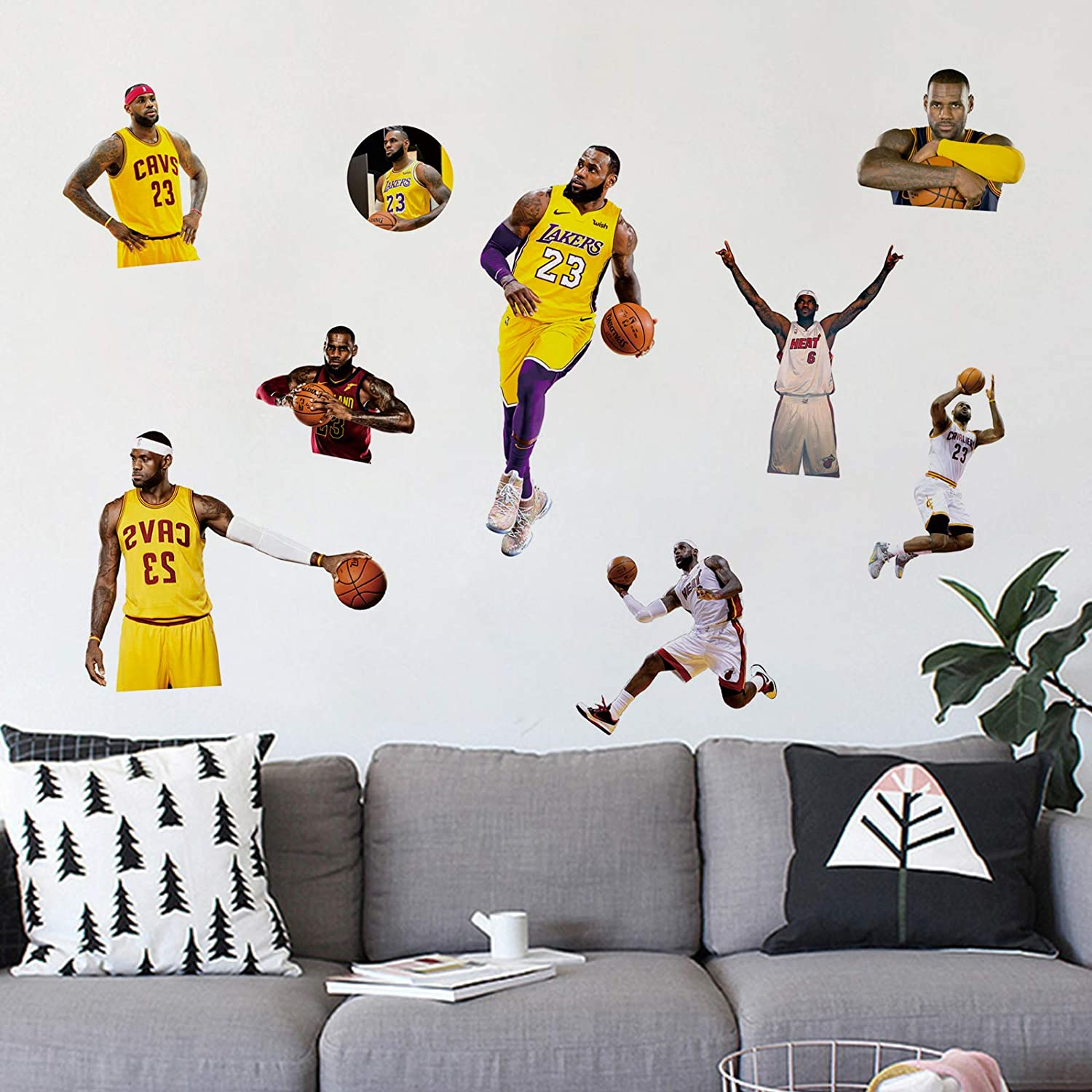 James Wall Decals 16x24in NBA Stickers for Living Room Waterproof Gifts for LA Lakers Basketball Fans Boys Dorm Decor Art