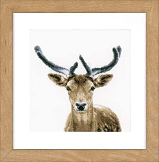 Vervaco Counted Cross Stitch Kit Deer aida, Cotton Blend, Assorted, 37.7 x 20 x 22 cm