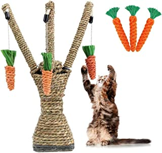 Callenbach Cat Scratching Post Tree, Pet Rattan Scratcher Climbing Tree with 3 Carrot Toy for Small Animal Hamster Rabbit Cat Guinea Pig Play Funny Toy