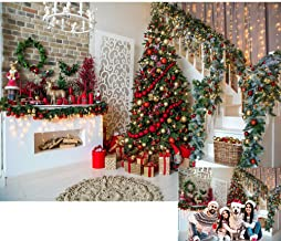 8x6ft Christmas Eve Party Fireplace Home Decorations Photography Backdrop Xmas Tree Gift Blanket Photo Background Holiday Party Supplies Vinyl Living Room Indoor Christmas Photo Booth Props