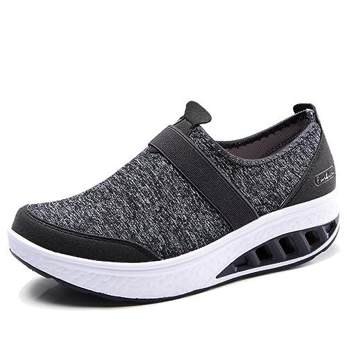 YKH Womens Slip On Rocker Walking Shoes Casual Light Weight Platform  Sneakers 43d311dec