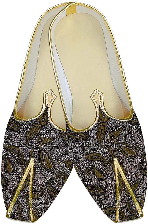 INMONARCH Herren Mandel Polyester Hochzeit Schuhe Olive Paisley MJ10559