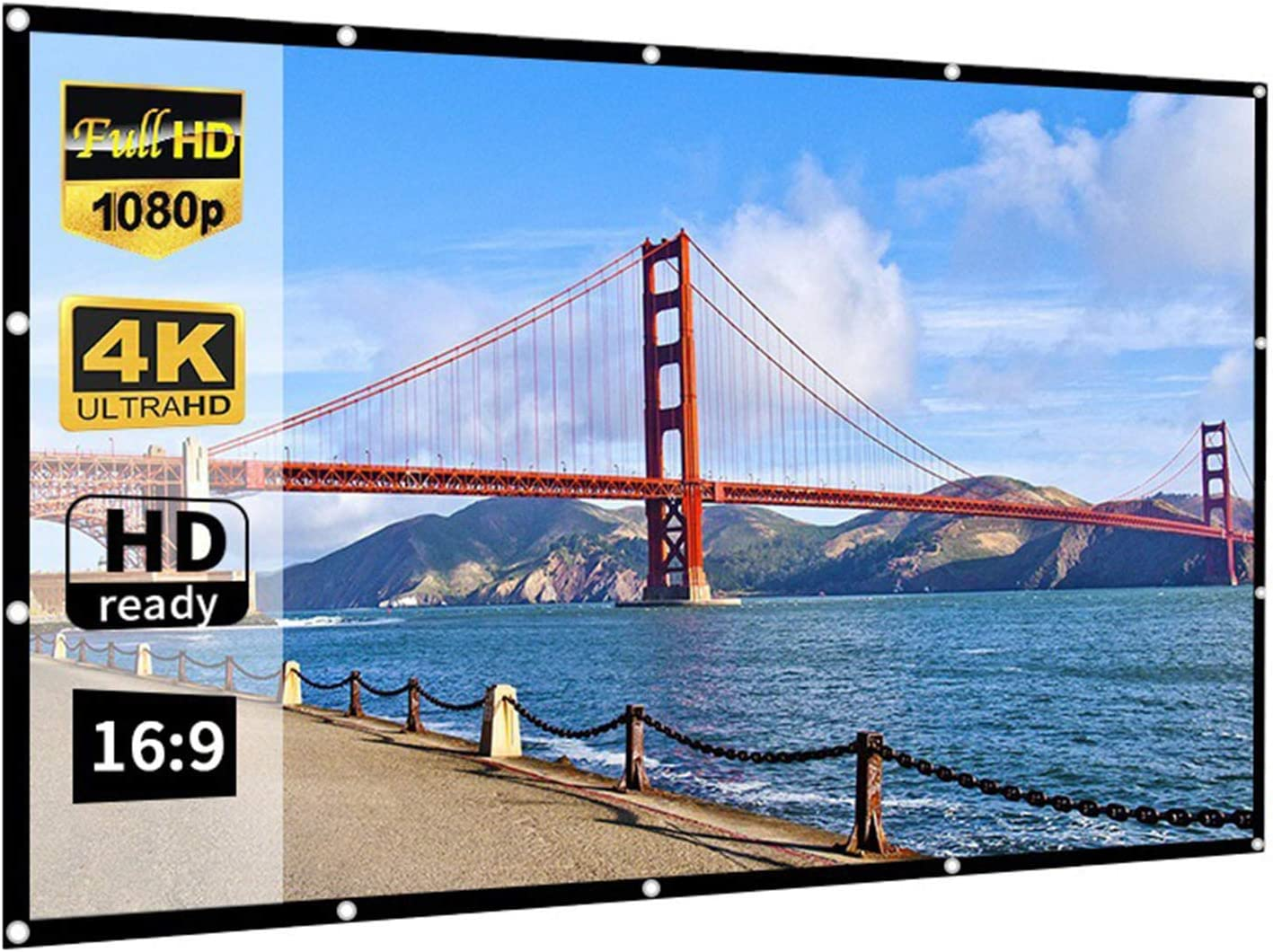 NNBD 16:9 Portable Projection Screen HD 4K Foldable Movies Screen for Home Theater Cinema Indoor Outdoor Front and Rear Projection Easy to Install