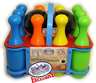Matty`s Toy Stop 10 Pin Multi-Color Deluxe Plastic Bowling Set for Kids with Storage Rack - 12 Pieces Total (10 Pins & 2 B...