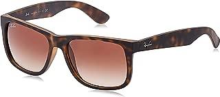 RB4165 Justin Rectangular Sunglasses, Rubber Light Havana/Brown Gradient, 55 mm