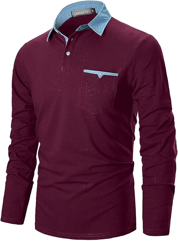 GNRSPTY Polo Hombre Manga Larga Denim Cuello Camisetas Algodón Camisas T-Shirt Golf Tennis Otoño Invierno Oficina