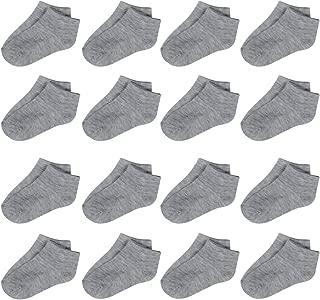 Toddler Socks - 16 Pack Kids Low Cut Athletic Ankle Socks Baby Boys Girls Breathable Socks Bulk