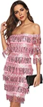 Chartou Womens Cute Off The Shoulder Sequin Fringe Mini Short Dresses Evening Gown