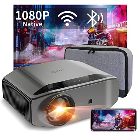 """WiFi Bluetooth Projector Support 4K, Artlii Energon 2 Full HD Native 1080P Outdoor Projector, 340 ANSI Lumen 300"""" Display, Keystone&Zoom, Compatible with TV Stick, iOS, Android for Home Theater, PPT"""