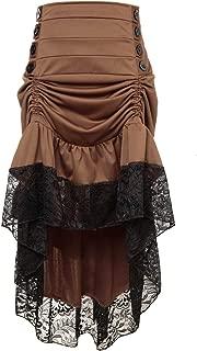 Charmian Women's Steampunk Victorian Gothic Lace Trim Ruffled High Low Skirt